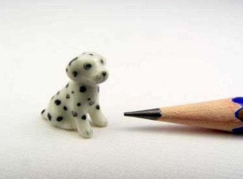 3 D Ceramic Toy Sitting Dalmatian SS Dollhouse Miniatures Free Ship
