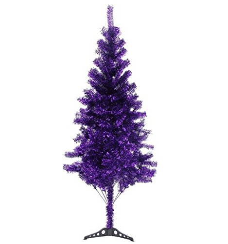 6' Ft Sparking Gorgeous Folding Artificial Tinsel Christmas Tree Purple Color 450 Tips-Unlit
