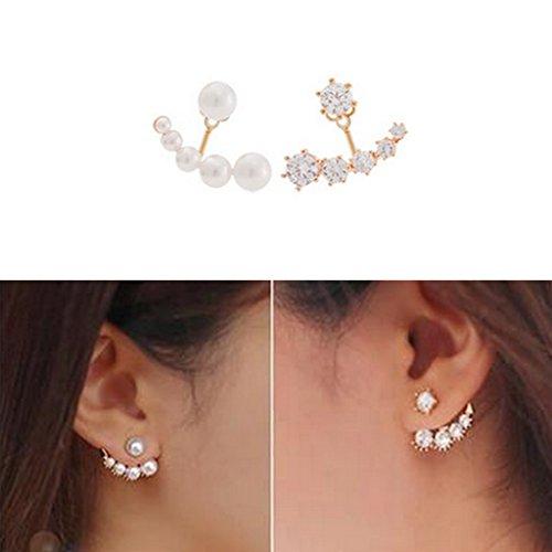 SwirlColor 1 paio di perle e strass Orecchino di moda Frontale Retro orecchini per le donne, Con Free Organza Sacchetto del regalo