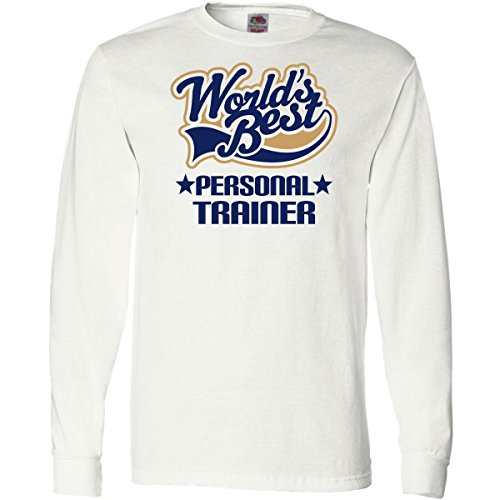 Inktastic Worlds Best Personal Trainer Long Sleeve T-Shirts Small White