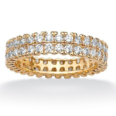18k Gold/Silver Round Cubic Zirconia Double-Row Eternity Band Size: 8