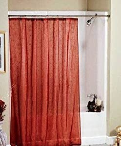 Amazon Metallic Paisley Red & Gold Sheer Fabric