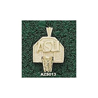 Arizona State Sun Devils ASU Basketball Backboard Pendant - 14KT Gold Jewelry by Logo Art