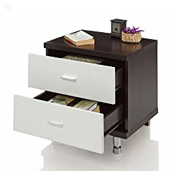 Royal Oak Geneva Bedside Table with 2 Drawers (White)