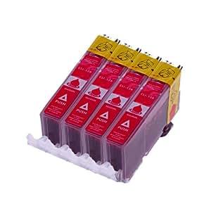 4 x Druckerpatrone für Canon CLI 526 , CLI 526 mit Chip kompatibel (Magenta/Rot)