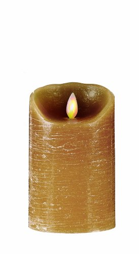Mystique Distressed Flameless Candle, 5-Inch, Taupe