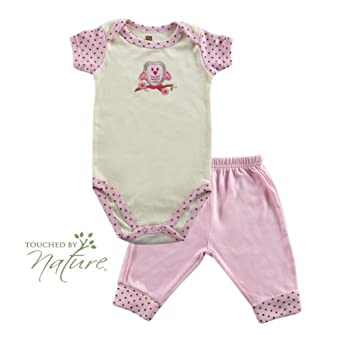 Hudson Baby Touched by Nature Organic Bodysuit & Pant, Pink, 0-3 months