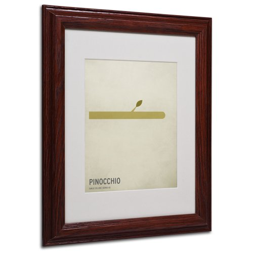 Trademark Fine Art Pinocchio Artwork by Christian Jackson in Wood Frame, 11 by 14-Inch (Pinocchio Nose Growing)