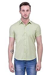 Trendster Green Solid Half Sleeve Casual Men's Shirt