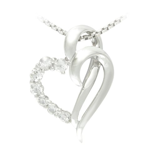 Sterling Silver Created White Sapphire Heart Pendant Necklace , 18