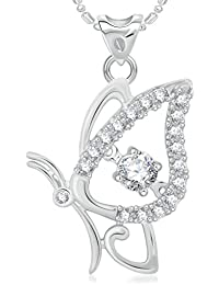 VK Jewels Butterfly Rhodium Plated Alloy Pendant With Chain For Women & Girls Made With Cubic Zirconia - P2039R...