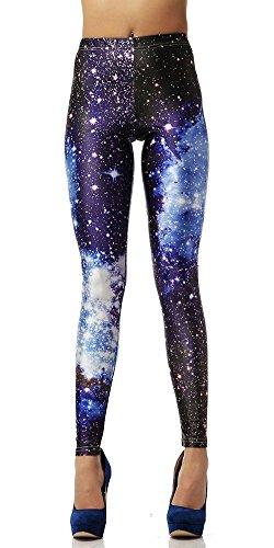 Tratto attivo a maglia metà stampa galassia / spazio Leggings per le donne ragazze Capri pantaloni (dimensione uno, blu scuro/blu)