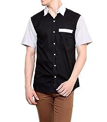 Dazzio Men's Slim Fit Cotton Casual Shirt (DZSH0916_Black_42)