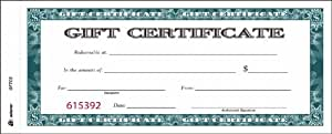 Adams Gift Certificate Book, Carbonless, Single Paper, 3.4 x 8 Inches, White, 2-Part, 25 Numbered Certificates (GFTC2)