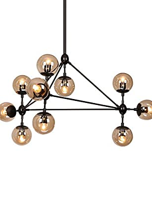 qiuxi High-end fashion Interior Ceiling lamp Modern Dimmable Modo Chandelier 10 Lights Semi-Flush Mounted Black Paiting Amber Glass for Living Room Loft Light , 110-120v