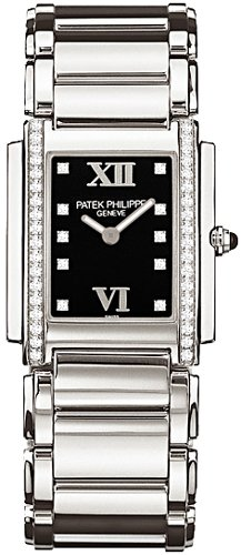 Patek Philippe Twenty-4 Black Dial Stainless Steel Diamond Ladies Watch 4910-10A-001