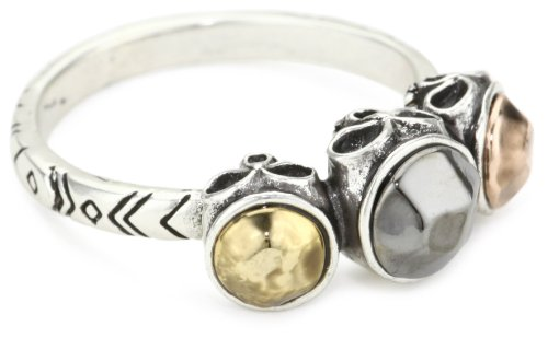 House of Harlow 1960 Tribal Skull with Metal Stones Ring, Size 7