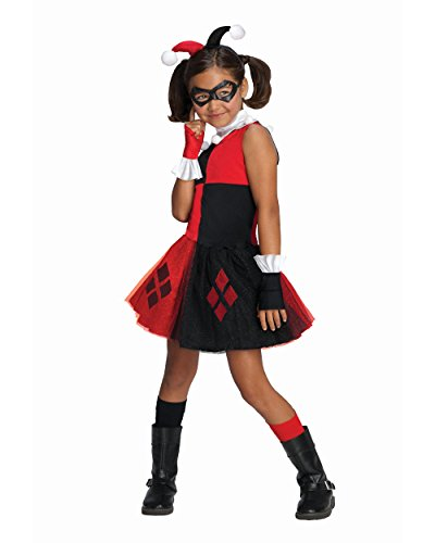 DC Super Villain Collection Harley Quinn Girl's Costume with Tutu Dress