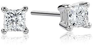 Platinum Princess Cut Diamond Stud Earrings (1/2 cttw, G-H Color, VS2 Clarity)