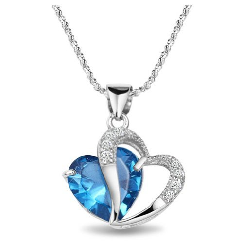 Chaomingzhen Birthday Gift Charm 925 Sterling Silver Blue Cubic Zirconia Double Heart Shaped Pendant Necklace for Women Fashion Jewellery for Girlfriend with 18