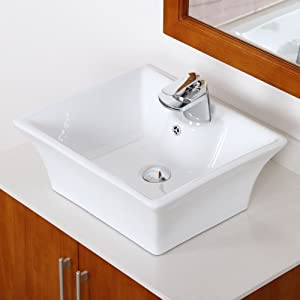 Rectangle White Ceramic Porcelain Vessel Sink & Chrome Faucet Combo ...