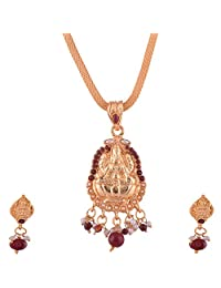 Ganapathy Gems Gold Plated Lakshmi Design Pandent Set With Pink Stones And Chain