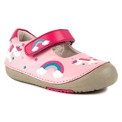 Momo Baby Girls First Walker/Toddler Rainbow Unicorn Mary Jane Leather