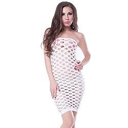 NImra Fashion White Solid Babydoll (Free)