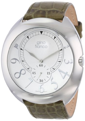 gino franco Men's 901GR Round Stainless Steel Genuine Leather Strap Watch