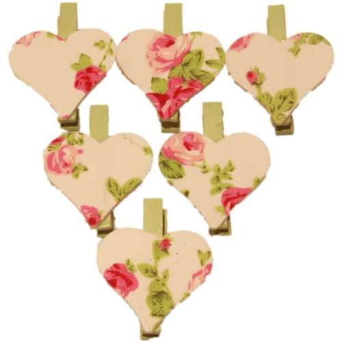 West5Products 6x Mini Wooden Floral Craft Pegs & Card Pegs in Heart Design