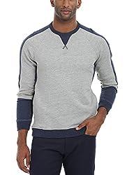 Zobello Men's Everyday Crew Sweatshirt(51115A_Grey/Navy_Small)