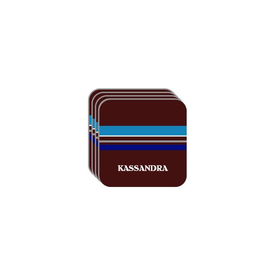 Personal Name Gift   KASSANDRA Set of 4 Mini Mousepad Coasters (blue design)