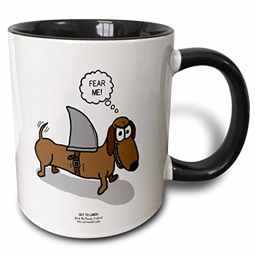 3dRose Weiner Dog with a Sharks Fin - Two Tone Black Mug, 11oz (mug_164020_4), 11 oz, Black/White (Weiner Dog Picture compare prices)