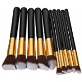 10 Pcs Wooden Handle Makeup Kit Cosmetic Brushes Set - B01CZLUEVG
