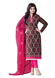 Women Icon Presents Embroidered Chanderi Dress Material(Brown,Multi,Pink)