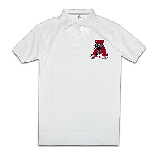 JiSi Five Polo T Shirt For Men - NCAA Alabama Crimson Tide Logo White