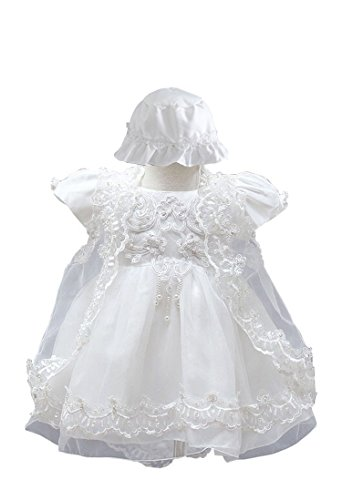 buy BabyPreg® Baby Girls Christening Baptism Gown Birthday Party Dress (3M / 0-6 Months, White) for sale