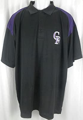 Colorado Rockies MLB Majestic Dri Fit Shoulder Polo Shirt Black Big & Tall Sizes