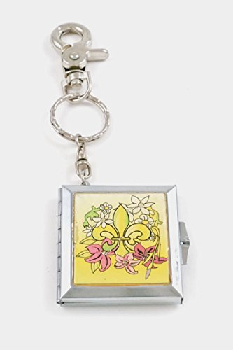 [GlitZ Finery Patterned Square Keychain with Mirror Inside (Yellow)] (Custom Costumes Jewelry Wholesale)