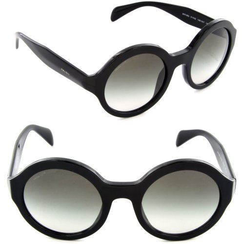 prada Prada 06QS 1AB0A7 Black 06QS Journal Round Sunglasses Lens Category 2