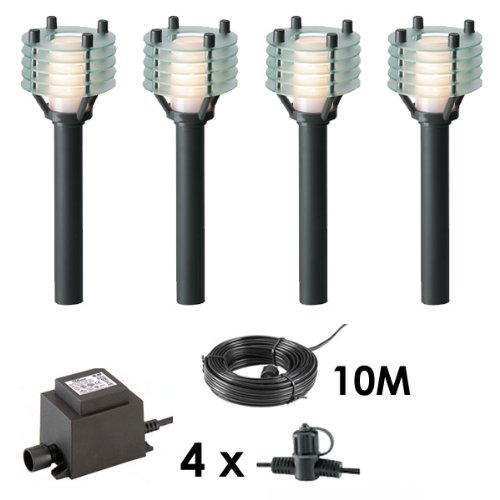 4 x Path / Bollard / Lantern Lights Outdoor 12V Garden Lighting Lights Kit - Easy Plug and Play