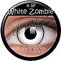 ColourVUE Crazy Farbige Fun Kontaktlinsen Daämon White Zombie Weiss mit schwarzem Rand 1 Paar (2 Stück)