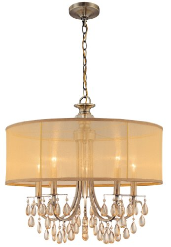 B002HP94V2 Crystorama 5625-AB Hampton Collection 5-Light Chandelier, Antique Brass Finish with Gold Silk Shimmer Shade and Etruscan Smooth Oyster Crystals