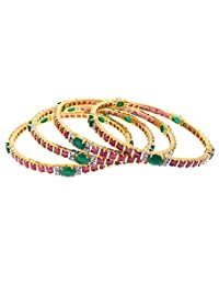 Aabhushan Jewels Ruby & Emerald Look Gold Plated American Diamond Bangles For Women - B00WUE8MA4