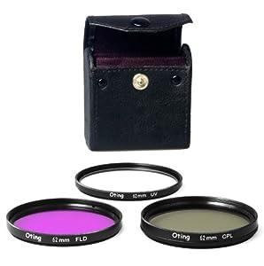 Set de 3 filtres 62mm Haute définition (filtre UV, filtre Fluorescent, filtre Polarisant) pour CANON EOS 1100D 1000D 650D 600D 550D 500D 450D 400D 350D 300D 1D 5D 6D 7D 30D 60D