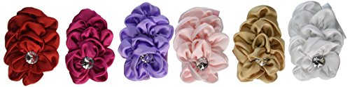 QS® Baby Girl Headbands with Crystal and Big Flower (Pack of 6)