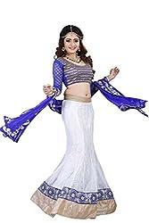 Lehenga Choli White Colour Fully Stitched Free Size Mermaid Fishtail style Women's Net Lehenga by Pushpila