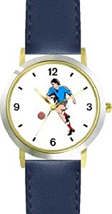 Man or Boy Soccer Player Soccer or Fussball Theme - WATCHBUDDY® DELUXE TWO-TONE THEME WATCH - Arabic Numbers - Blue Leather Strap-Children's Size-Small ( Boy's Size & Girl's Size )
