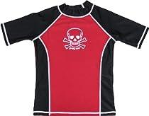 grUVywear UV Protective (UPF 50+) Boys Short Sleeve Shirt with Skull & Crossbones-Red Black-XL 11-12