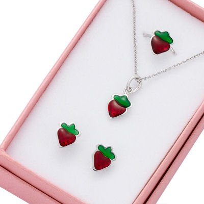 Children's Jewellery Set: Adjustable ring + Earrings + Necklace Strawberry - Sterling Silver & Red Enamel